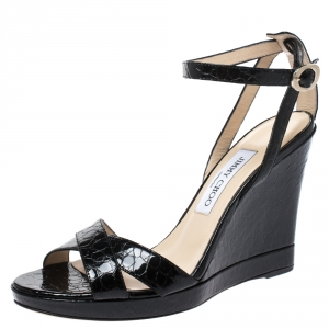 Jimmy Choo Black Croc Embossed Patent Leather Wedge Ankle Strap Sandals Size 38 - used