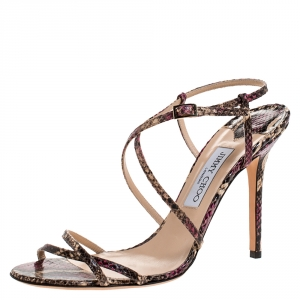 Jimmy Choo Multicolor Python Issey Criss Cross Sandals Size 42 - used