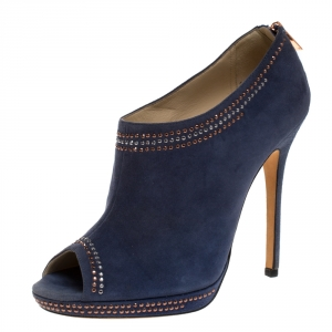 Jimmy Choo Blue Studded Suede Peep Toe Booties Size 39.5 - used