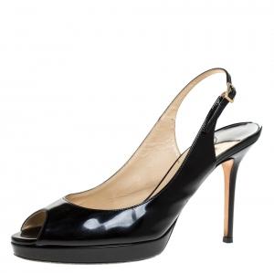 Jimmy Choo Black Patent Leather Slingback Platform Sandals Size 39 - used