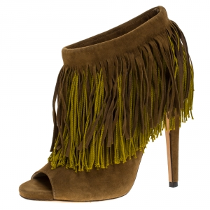 Jimmy Choo Olive Green Suede Fringe Detail Damita Boots Size 38 - used