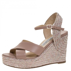 Jimmy Choo Pale Pink Leather Amely Espadrille Wedge Slingback Sandals Size 38.5 - used