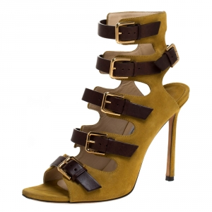 Jimmy Choo Yellow/Brown Suede And Leather Trick Caged Sandals Size 37.5 - used