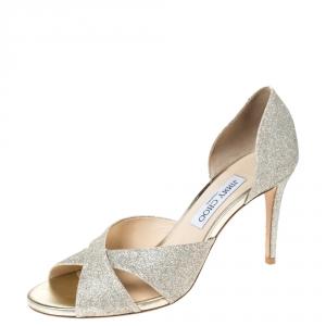 Jimmy Choo Silver Glitter Fabric Lara Open Toe Sandals Size 40 - used