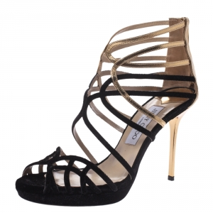 Jimmy Choo Black Velvet And Gold Leather Maurice Strappy Sandals Size 37 - used