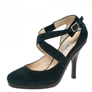 Jimmy Choo Green Suede Leather Cross Strap Platform Sandals Size 38.5 - used