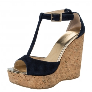 Jimmy Choo Blue Suede Pela Cork Wedge Ankle Strap Platform Sandals Size 37.5 - used
