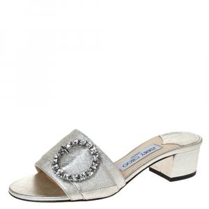Jimmy Choo Silver Leather Granger Buckle Embellished Slide Sandals Size 36 - used