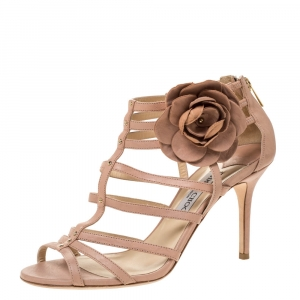 Jimmy Choo Powder Pink Leather Opaque Flower Detail Cage Sandals Size 40 - used