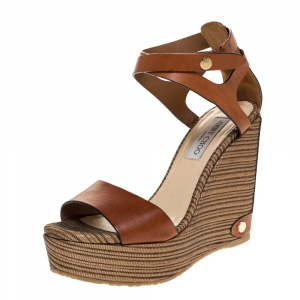 Jimmy Choo Brown Leather And Woven Raffia Wedge Noelle Ankle Strap Sandals Size 39 - used