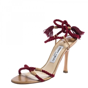 Jimmy Choo Red Cotton Rope Ankle Wrap Sandals Size 36.5 - used
