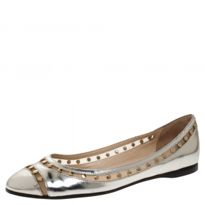 Jimmy Choo Metallic Silver Leather and Mesh Studded Wes Ballet Flats Size 38 - used