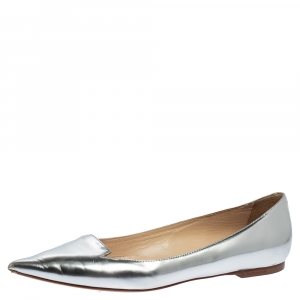 Jimmy Choo Metallic Silver Leather Attila Ballet Flats Size 38.5 - used