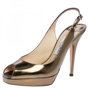 Jimmy Choo Metallic Gold Leather Platform Peep Toe Ankle Strap Sandals Size 38.5 - used