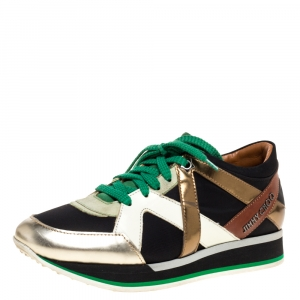 Jimmy Choo Multicolor Leather, Suede and Fabric London Sneakers Size 37