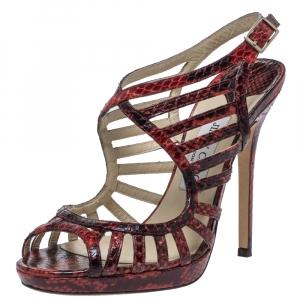 Jimmy Choo Red Python Keenan Python Platform Sandals Size 39 - used