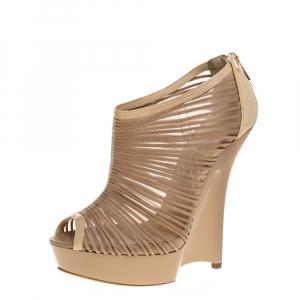 Jimmy Choo Beige Leather And Mesh Ellie Wedge Platform Booties Size 39.5 - used