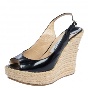 Jimmy Choo Black Patent Leather Polar Slingback Espadrille Wedge Sandals Size 37 - used