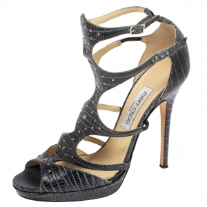 Jimmy Choo Grey Lizard Embossed Leather Mostyn Strappy Gladiator Sandals Size 40 - used