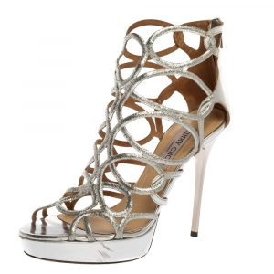 Jimmy Choo Silver Leather And Stardust Glitter Suede Cutout Open Toe Platform Sandals Size 39.5 - used