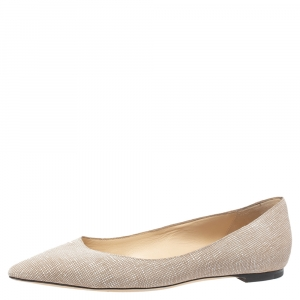 Jimmy Choo Beige/White Textured Leather Romy Ballet Flats Size 38.5 - used