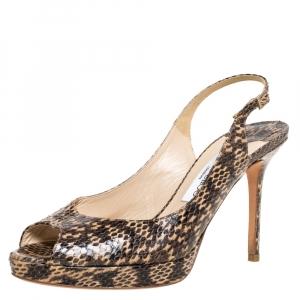 Jimmy Choo Brown/Beige Snakeskin Nova Slingback Peep Toe Platform Sandals Size 39 - used