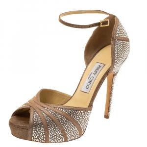 Jimmy Choo Beige Glitter Suede Kalpa Crystal Embellished Ankle Strap Platform Sandals Size 38.5