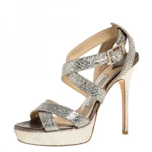 Jimmy Choo Gold/Silver Glitter Vamp Platform Strappy Sandals Size 36 - used