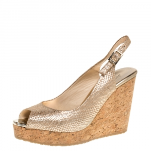 Jimmy Choo Metallic Gold Python Print Fabric Prova Slingback Cork Wedge Sandals Size 38