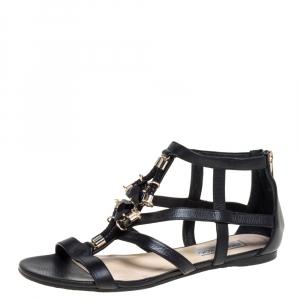 Jimmy Choo Black Leather Nano Flat Jewel Embellished Cage Sandals Size 37.5