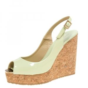Jimmy Choo Light Green Patent Leather Prova Slingback Cork Wedge Sandals Size 38