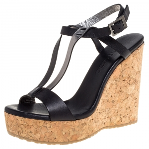 Jimmy Choo Black Leather Double Faced Slingback Cork Wedge Sandals Size 37
