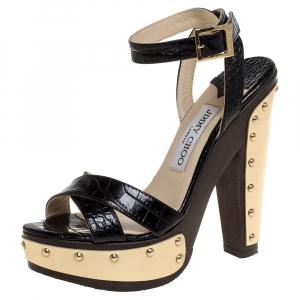 Jimmy Choo Black Croc Embossed Leather Ultimate Clog Ankle Strap Platform Sandals Size 36