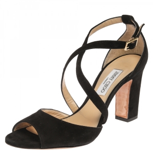 Jimmy Choo Black Suede Leather Carrie Ankle Strap Sandals Size 42