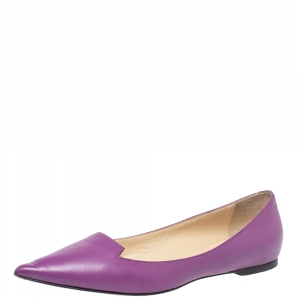 Jimmy Choo Purple Leather Attila Pointed Toe Ballet Flats Size 40 - used
