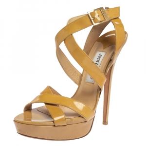 Jimmy Choo Beige Patent Leather Vamp Platform Sandals Size 41.5