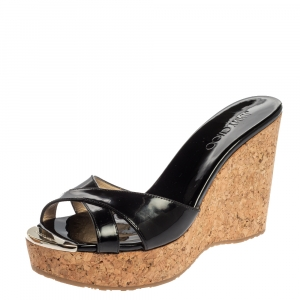Jimmy Choo Black Patent Leather Prima Cork Platform Slides Sandals Size 39