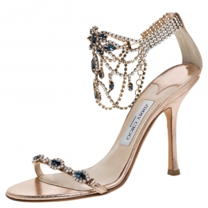 Jimmy Choo Rose Gold Leather And Crystal Embellished Open Toe Sandals Size 39