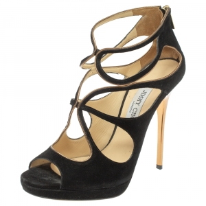 Jimmy Choo Black Suede Strappy Zipper Sandals Size 39.5