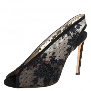 Jimmy Choo Black Lace and Suede Shar Slingback Sandals Size 38.5