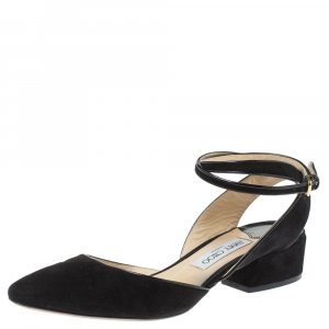 Jimmy Choo Black Suede Ankle Strap Block Heel Sandals Size 39
