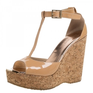 Jimmy Choo Beige Patent Leather Pela Cork Wedge T Strap Sandals Size 39