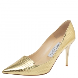 Jimmy Choo Metallic Gold Textured Leather Pointed Toe Pumps Size 37