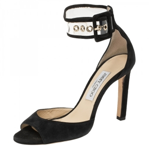 Jimmy Choo Black Suede and PVC Moscow Peep Toe Ankle Cuff Sandals Size 38