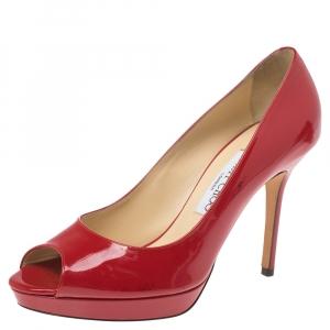 Jimmy Choo Red Patent Leather Luna Pee Toe Pumps Size 38