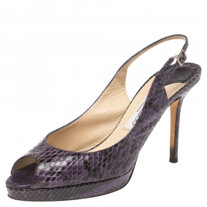 Jimmy Choo Purple Python Peep Toe Slingback Platform Sandals Size 38.5