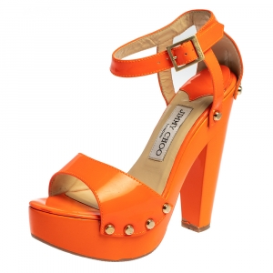Jimmy Choo Orange Patent Leather Studded Ankle Strap Platform Sandals Size 36