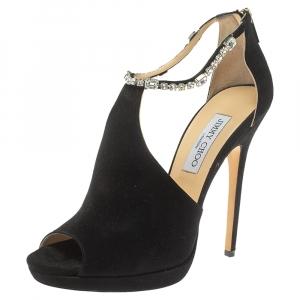 Jimmy Choo Black Suede Crystal Embellished Ankle Strap Peep Toe Sandals Size 40 - used