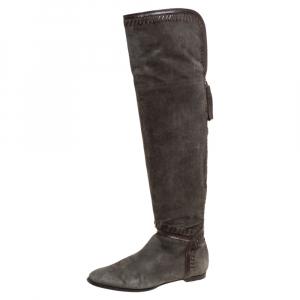 Jimmy Choo Khaki Green Suede High Knee Boots Size 37.5