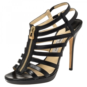 Jimmy Choo Black Leather Strappy Sandals Size 41
